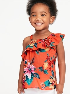 d4d4a24ac64a One-Shoulder Ruffle-Trim Swing Top for Toddler Girls