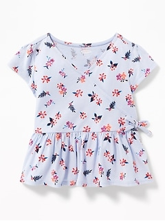 fee1d4be652e03 Slub-Knit Faux-Wrap Peplum-Hem Top for Toddler Girls