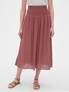 be379ecb6 Smocked Waist Midi Skirt
