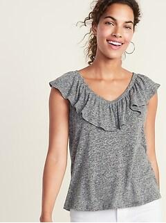 6e5551b61e Ruffle-Trim Linen-Blend Top for Women
