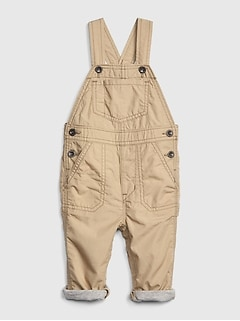 878870ded Baby Jersey-Lined Khaki Overalls