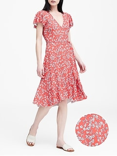 9f8f457d377 Floral Soft Ponte Ruffle Wrap Dress