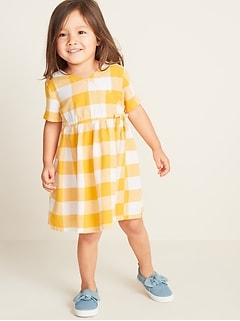 c7358aab55a4 Faux-Wrap Gingham Shirt Dress for Toddler Girls