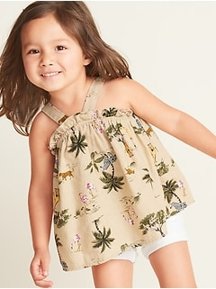 2f3180468d982 Price As Marked. Printed Linen-Blend Tank for Toddler Girls