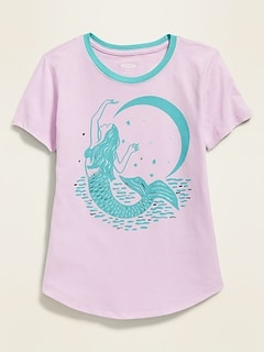 01e085052 Graphic Curved-Hem Tee for Girls