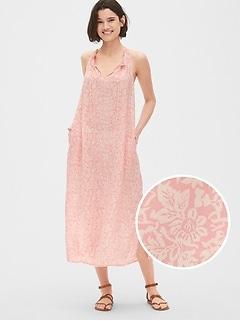 95c29975d8a Print Tie-Neck Halter Midi Dress