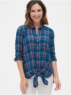 897d3b9addc Maternity Flannel Plaid Tie-Front Shirt