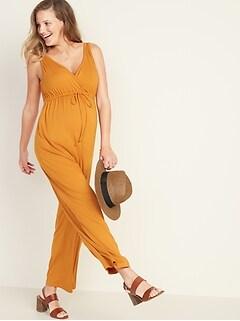 0e1583507c322 Sleeveless Maternity Wrap-Front Jumpsuit