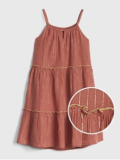 bf2a5f187dd Kids Metallic Tiered Tank Dress