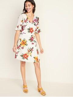 cfcbc2d8932 Waist-Defined Bell-Sleeve Faux-Wrap Dress for Women