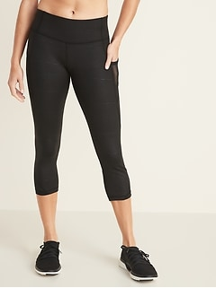 075ab613cc593 Mid-Rise Elevate Side-Pocket Mesh-Trim Compression Crops for Women