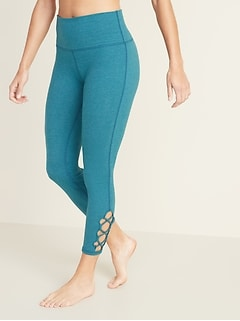 4591122a761e9 High-Rise 7/8-Length Lattice-Hem Balance Yoga Leggings for Women