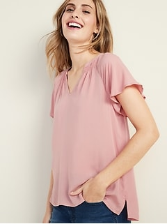 e7e44a8db2fc Smocked Flutter-Sleeve Top for Women