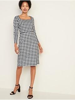 4e2fcc3d472ab Square-Neck Sheath Dress for Women