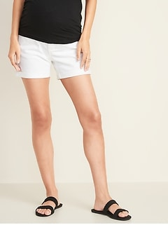 151f9d26f8 Maternity Full-Panel Distressed Boyfriend White Denim Shorts -- 5-inch  inseam