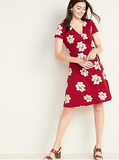 cd96b1c76c8 Waist-Defined Faux-Wrap Jersey Dress for Women