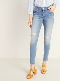 d64892d82048cf Mid-Rise Button-Fly Distressed Rockstar Super Skinny Jeans for Women