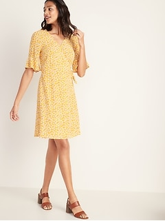7f02270e77f29 Floral-Print Bell-Sleeve Wrap Dress for Women