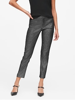Modern Sloan Skinny-Fit Metallic Plaid Pant