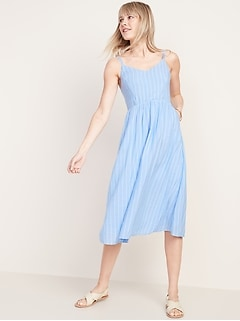 Oldnavy Fit & Flare Striped Cami Midi Dress for Women