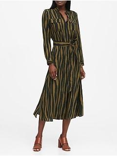 Print Utility Shirt Dress