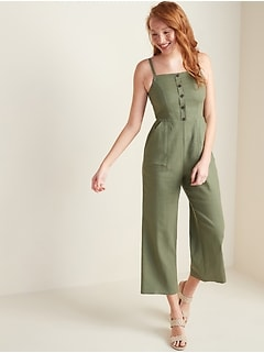 Oldnavy Button-Front Linen-Blend Cami Jumpsuit for Women