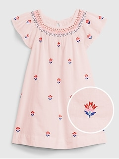 Toddler Girl Size 3 3T Baby Gap Pink Floral Print Pleated Flared Sleeve Dress