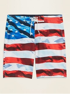 Oldnavy American Flag Print Built-In Flex Board Shorts for Men -- 10-inch inseam