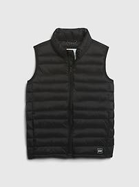 갭 GAP Kids Upcycled Lightweight Puffer Vest,blue camo