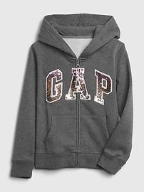 Kids Flippy Sequin Gap Logo Hoodie,pure pink