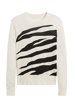 Silk Cashmere Relaxed Zebra Sweater