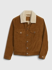 갭 GAP Kids Sherpa Lined Cord Jacket,deep camel