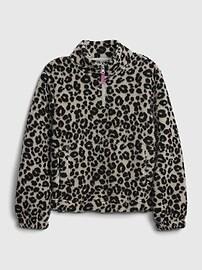 갭 GAP Kids Leopard Print Sherpa Sweatshirt,leopard