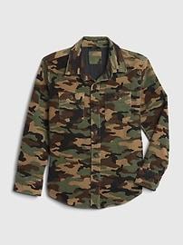 갭 GAP Kids Camo Cord Chore Jacket,green camo