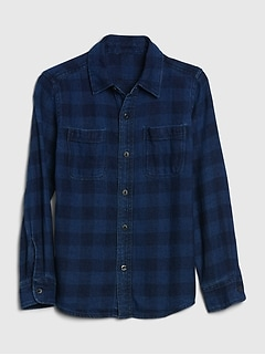 New Gap Kids Boys Linen Blue Orange Short Sleeve Pocket Shirt 6 7 8 10 12 14 16
