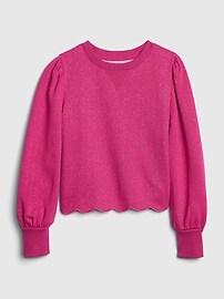 갭 GAP Kids Puff Sleeve Crewneck Sweatshirt,super pink neon