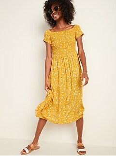 Oldnavy Smocked Off-the-Shoulder Fit & Flare Midi Dress for Women