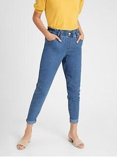 bananarepublic High-Rise Paperbag-Waist Pull-On Jean