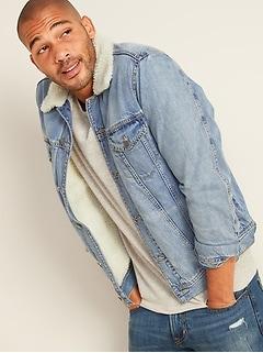 Oldnavy Sherpa-Lined Medium-Wash Jean Jacket for Men