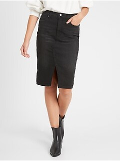 bananarepublic Washed Black Denim Skirt
