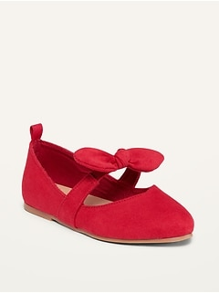 Oldnavy Faux-Suede Pointy-Toed Bow-Tie Flats for Toddler Girls