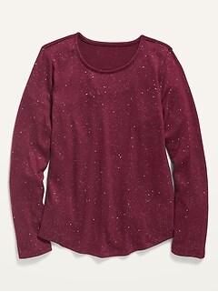 Oldnavy Plush-Knit Glitter Crew-Neck Top for Girls