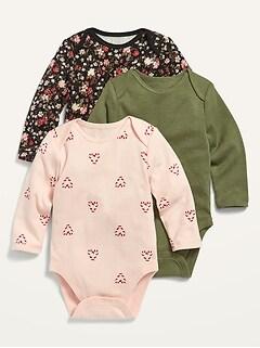 Oldnavy Unisex Long-Sleeve Bodysuit 3-Pack for Baby