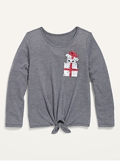 Oldnavy Long-Sleeve Graphic Tie-Front Tee for Girls