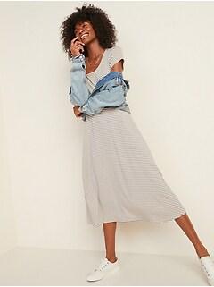 Oldnavy Patterned Jersey Fit & Flare Midi Dress for Women