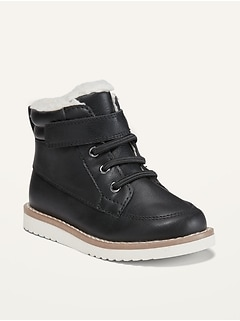 Oldnavy Faux-Leather Sherpa-Trim Boots for Toddler Boys