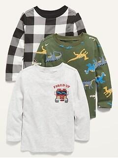Oldnavy Long-Sleeve Printed Tee 3-Pack for Toddler Boys Hot Deal