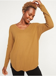 Oldnavy Loose Luxe Rib-Knit V-Neck Tunic Tee for Women