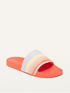 Oldnavy Faux-Leather Pool Slides for Girls