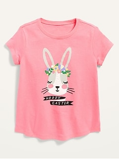 Oldnavy Short-Sleeve Hoppy Easter Graphic Tee for Toddler Girls